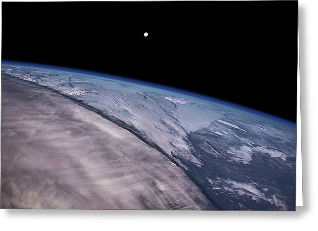Satellite View Of Earth With Moon Greeting Card