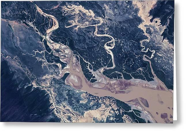 Satellite View Of Estuary, Camballin Greeting Card