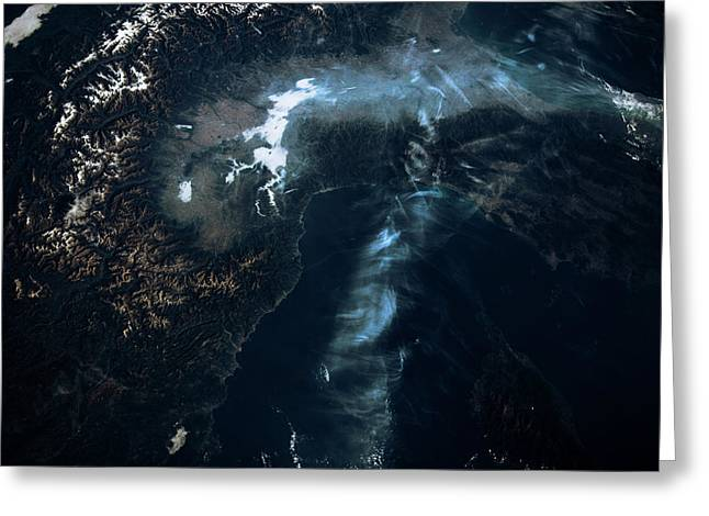 Satellite View Of European Alps Greeting Card
