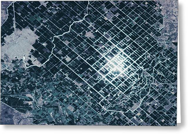 Satellite View Of Fields In Sonora Greeting Card