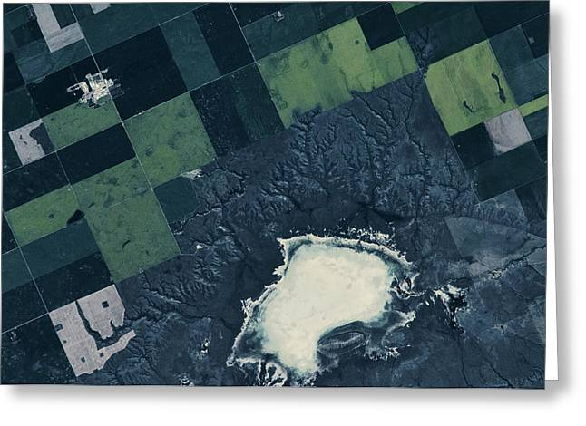 Satellite View Of Fields Greeting Card