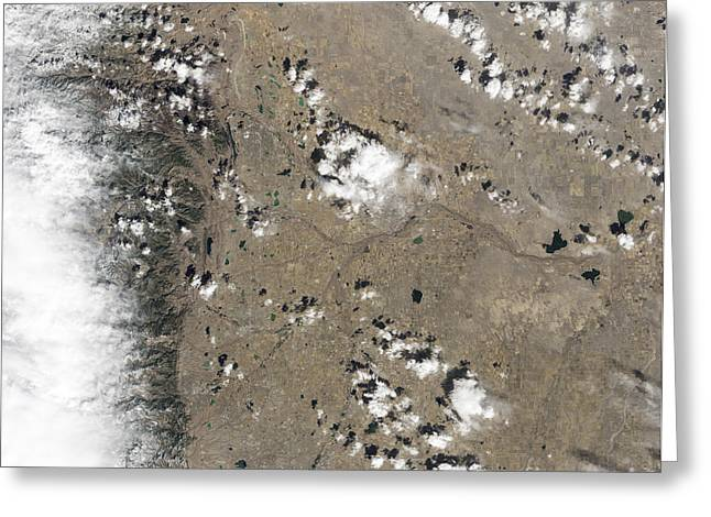 Satellite View Of Fort Collins Greeting Card by Stocktrek Images