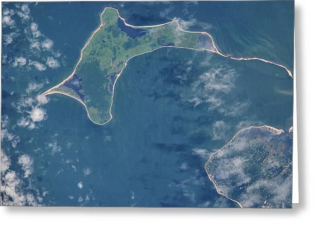 Satellite View Of Gardiners Island Greeting Card