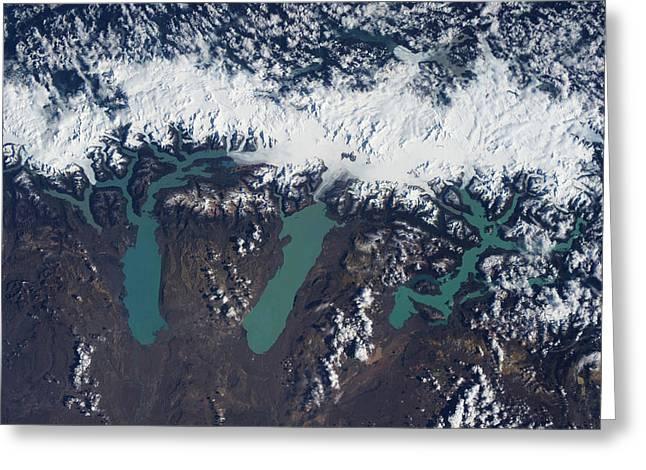 Satellite View Of Glaciers Greeting Card