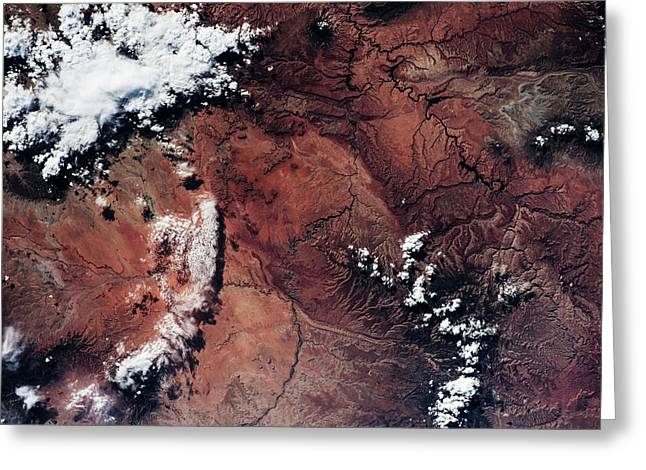 Satellite View Of Grand Canyon Greeting Card