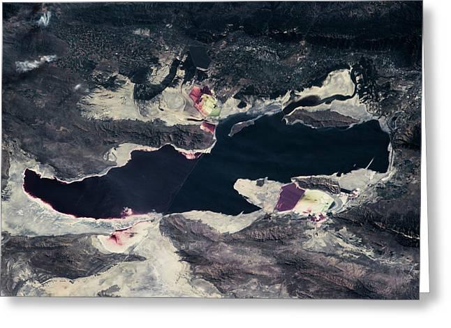 Satellite View Of Great Salt Lake Greeting Card