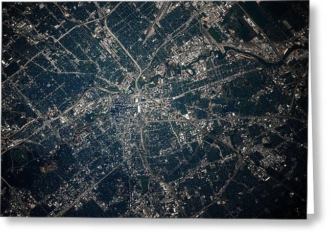 Satellite View Of Houston, Texas, Usa Greeting Card