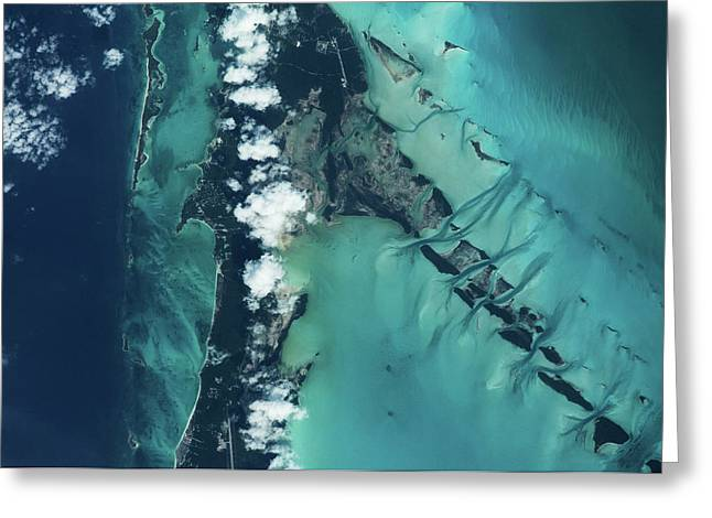 Satellite View Of Islands, Exuma Greeting Card
