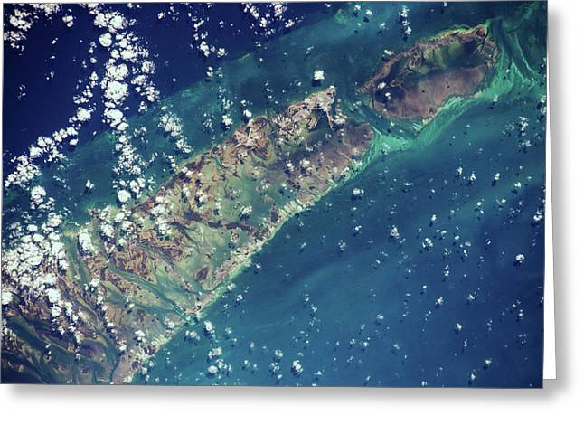Satellite View Of Islands Of Bahamas Greeting Card