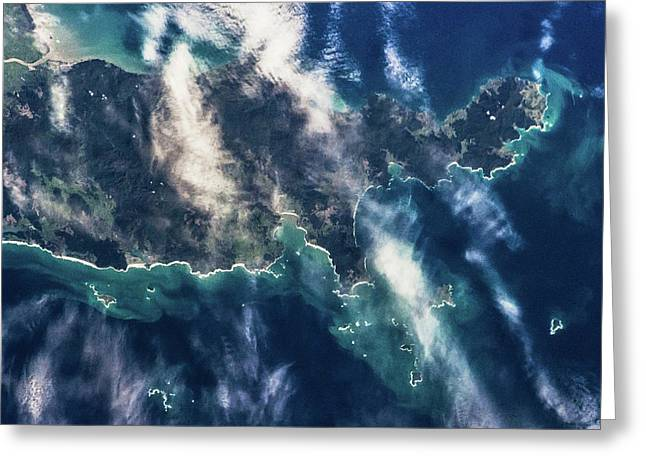 Satellite View Of Islands Of New Zealand Greeting Card
