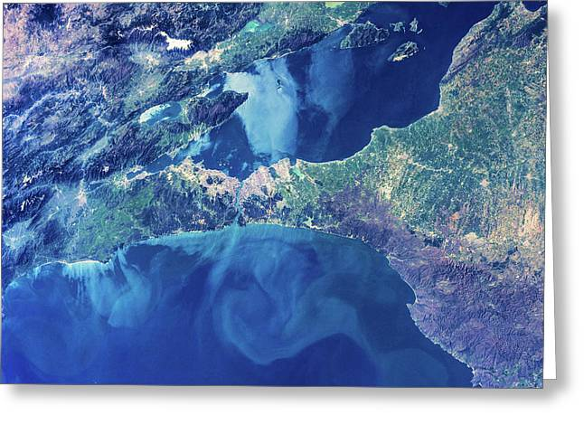 Satellite View Of Istanbul With Sea Greeting Card