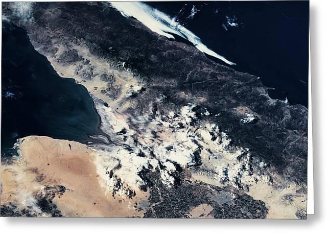 Satellite View Of Lake, Arizona, Usa Greeting Card