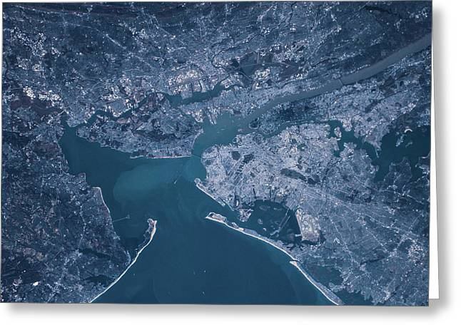 Satellite View Of Manhattan Greeting Card