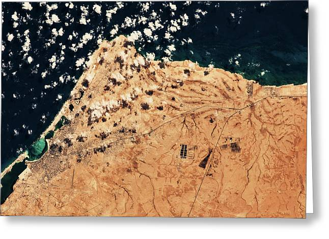 Satellite View Of Mersa Matruh Coastal Greeting Card