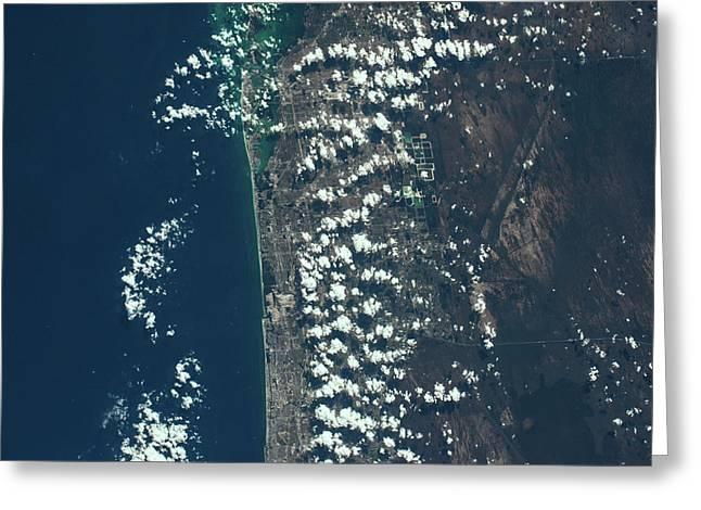 Satellite View Of Miami Along Atlantic Greeting Card