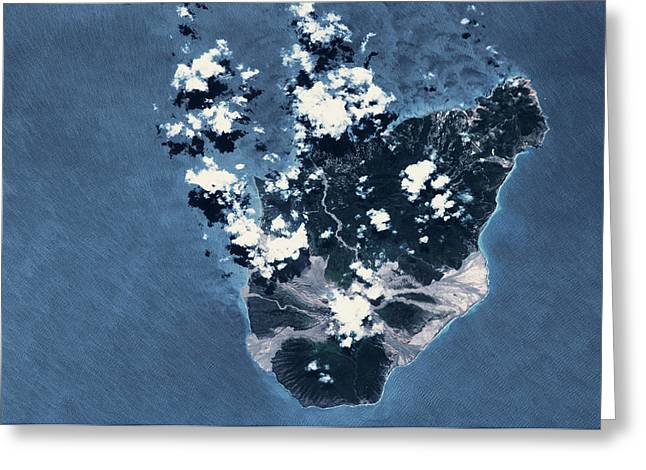 Satellite View Of Montserrat Island Greeting Card