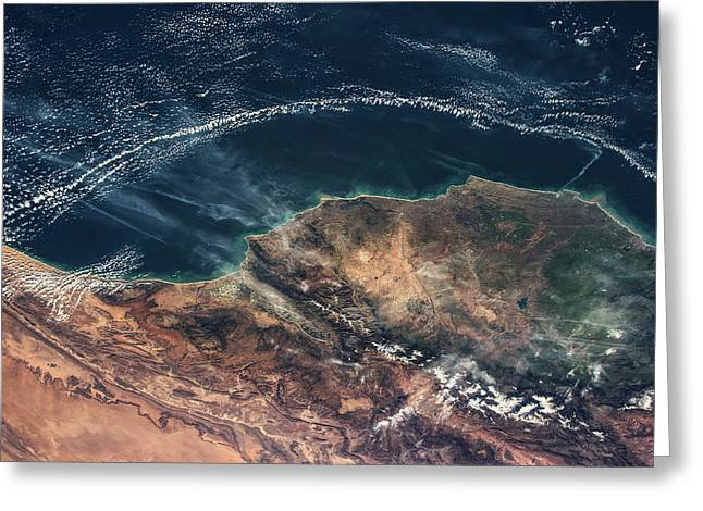 Satellite View Of Moroccan Coastline Greeting Card