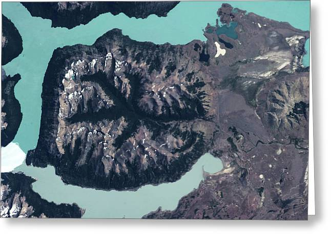 Satellite View Of Mountains Greeting Card