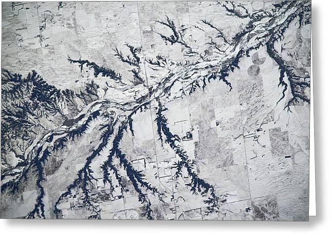 Satellite View Of Neobrara River Greeting Card