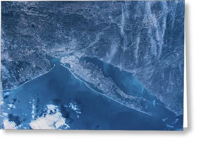 Satellite View Of New York, Usa, North Greeting Card