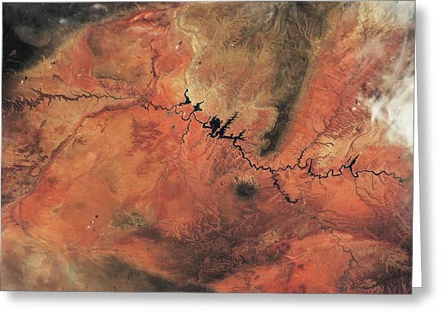 Satellite View Of Novajo Nation Greeting Card