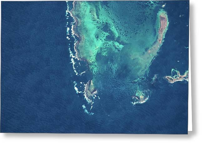 Satellite View Of Rat Island Coastline Greeting Card