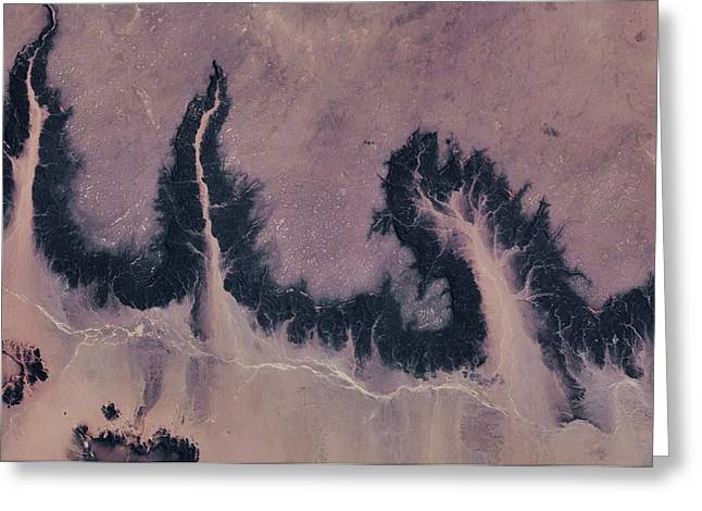 Satellite View Of River Near Agades Greeting Card