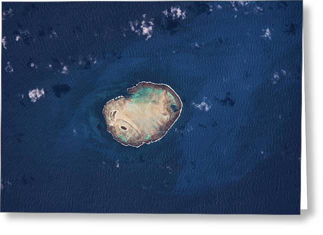 Satellite View Of Rocas Atoll In South Greeting Card