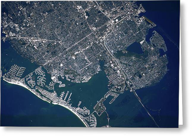 Satellite View Of Sea Port, St Greeting Card