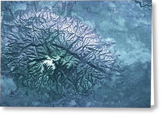 Satellite View Of Volcanic Mountain Greeting Card