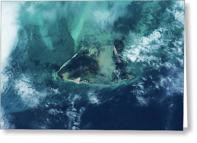 Satellite View Of West Grand Bahama Greeting Card
