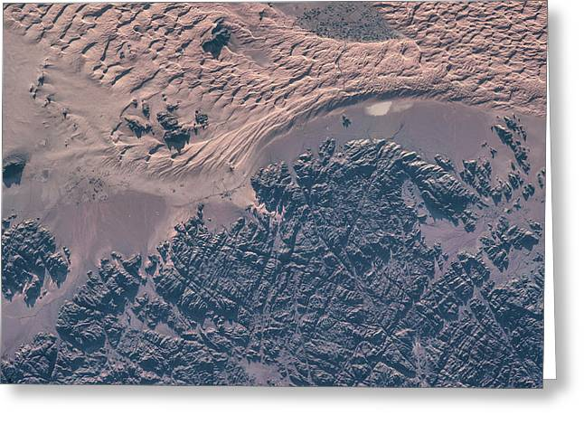Satellite View Of Wet Sand On Riverbed Greeting Card