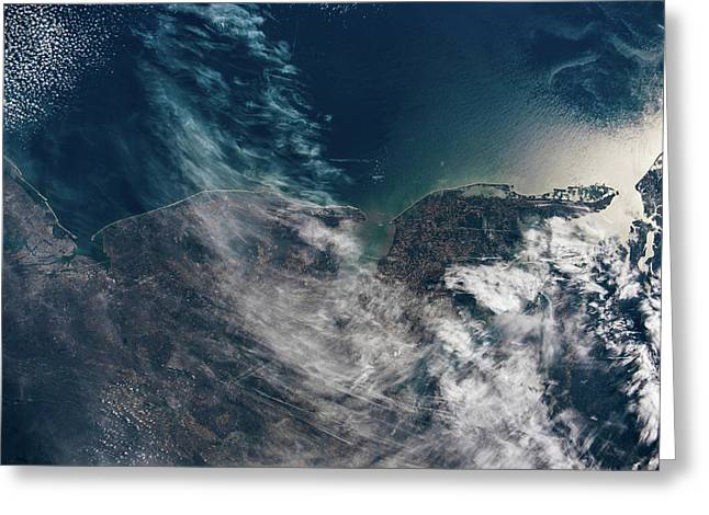 Satellite View Showing Coastal Cities Greeting Card