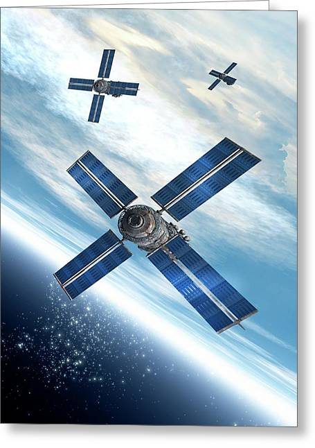 Satellites Orbiting The Earth Greeting Card by Victor Habbick Visions