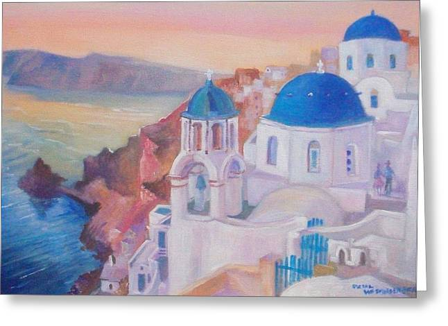Greeting Card featuring the painting Santorini Greece by Paul Weerasekera