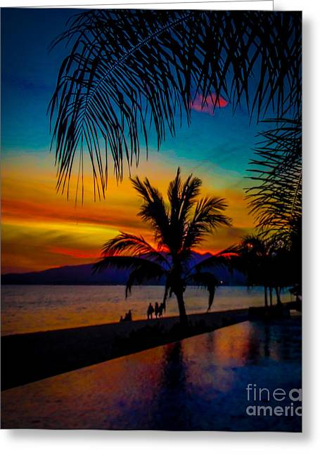 Saturated Mexican Sunset Greeting Card by Charlene Gauld