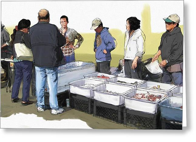 Saturday Fish Market Ventura Harbor Greeting Card