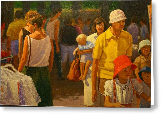 Saturday Market Greeting Card by Terry Perham