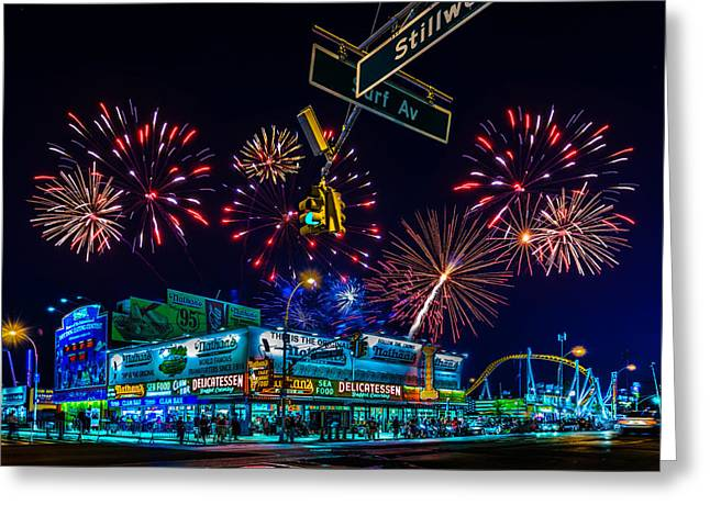 Saturday Night At Coney Island Greeting Card by Chris Lord