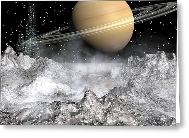 Saturn And Enceladus Greeting Card by Michele Wilson