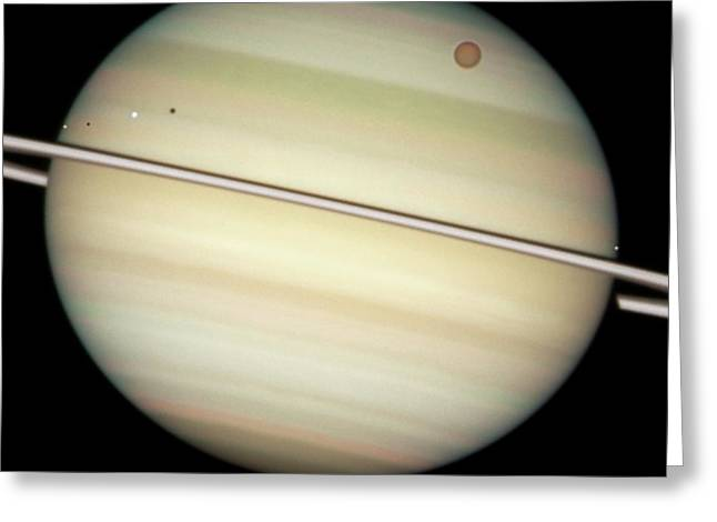 Saturn And Moon Transits Greeting Card by Nasa/esa/hubble Heritage Team (stsci/aura)