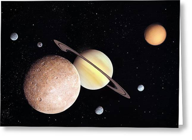 Saturn And Moons Greeting Card