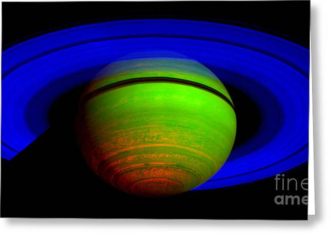 Saturn In Color Greeting Card by Paul Ward