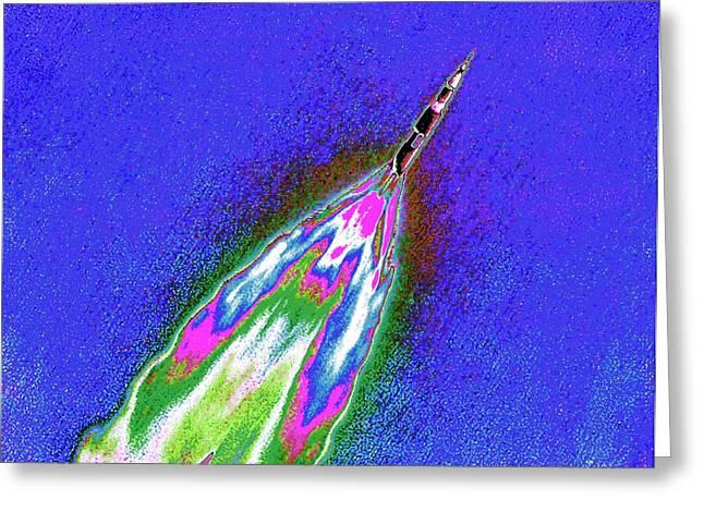 Saturn V Rocket Launch Greeting Card