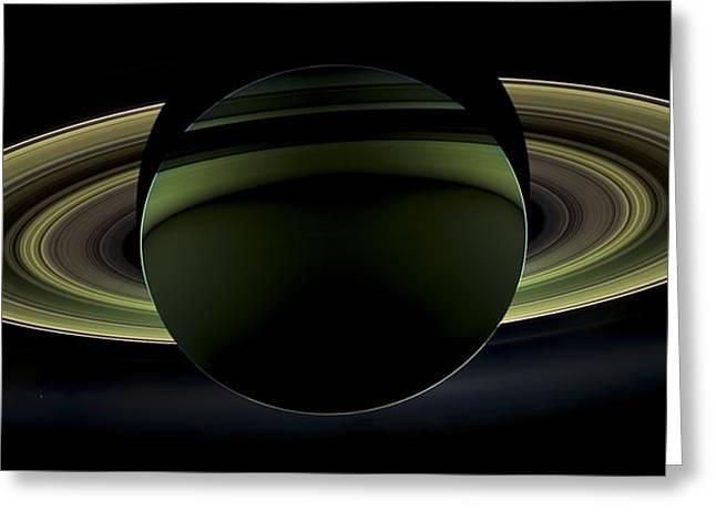 Saturns Glowing Rings Greeting Card by Adam Romanowicz