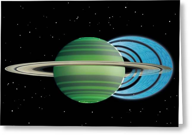 Saturn's Ring 'rain' Greeting Card by Nasa/jpl-caltech/space Science Institute/university Of Leicester