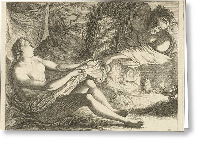 Satyr With A Nymph, Arnold Houbraken, Anonymous Greeting Card by Arnold Houbraken