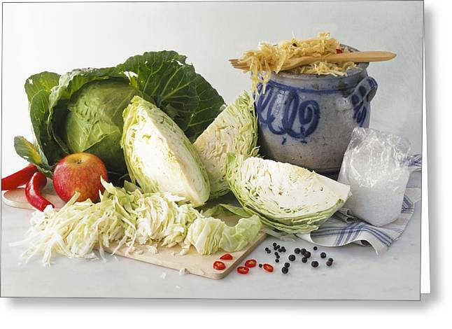 Sauerkraut Ingredients Greeting Card by Science Photo Library