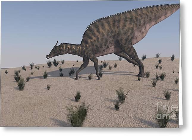 Saurolophus Walking Across A Barren Greeting Card by Kostyantyn Ivanyshen