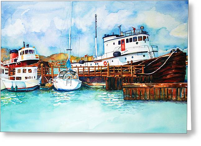 Sausalito Bay Greeting Card by Richelle Siska